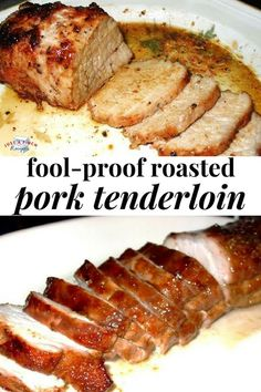 Fool-Proof Roasted Pork Tenderloin is tender, juicy and full of flavor. This no-fail recipe for pork tenderloin comes out perfect everWHAT'S FOR DINNER y time! Meat Recipes, Yummy Recipes, Cooking Recipes, Healthy Recipes, Pork Loin Recipes Oven, Best Pork Loin Recipe, Dinner Recipes, Cooking Ideas, Barbecue