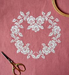 Sneak Peek At My New Pattern ~ French cross stitch heart ~ white silk thread on rose colored linen ~ shabby chic ~ pretty cross stitch