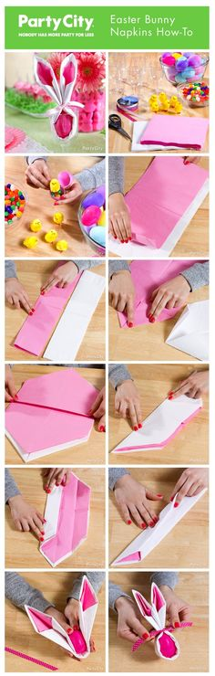 Easter Bunny Napkin How-To ~ make adorable pink and white Easter bunny napkins that double as candy favors. Tutorial with step by step how-to photos. Hoppy Easter, Easter Bunny, Easter Eggs, Easter Table, Easter Party, Easter Dinner, Easter Projects, Easter Crafts, Easter Ideas