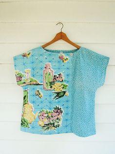 Upcycled Tea Towel Patchwork Women Top Shirt Linen Vintage Pastel Fifties Kitsch Blue Floral Medium