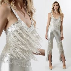 vtg 70s SILVER beaded FRINGE disco maxi dress bodycon cocktail party JUMPSUIT