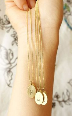 Custom Brass Initial Necklace