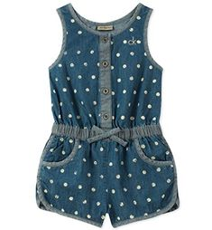 Calvin Klein Dot-Print Cotton Denim Romper, Little Girls - Blue sweet dot print delights on this cute lightweight cotton denim romper from Calvin Klein.Perfect for playing in the park, this cotton denim romper from Calvin Klein features an elastic Baby Outfits, Kids Outfits, Frocks For Girls, Little Girl Dresses, Baby Girl Romper, Baby Girls, Toddler Girls, Baby Girl Jumpsuit, Baby Dress Design