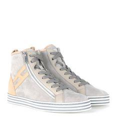 Laterale Sneaker alta Hogan Rebel R182 in camoscio grigio marmo e rosa cipria
