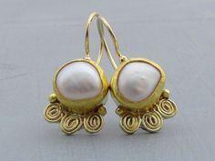 Pearls Gold Earrings  22k Gold Earrings  Wedding Earrings by Omiya