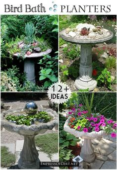 Flower Garden 12 Ideas for bird bath planters - turn that broken bird bath into something wonderful! - This is a good idea for a garden bird bath: turn it into a beautiful planter for your yard. You can plant directly in the bowl, or insert containers. Garden Art, Garden Projects, Bird Bath Garden, Flower Pots, Plants, Concrete Bird Bath, Garden Crafts, Diy Bird Bath, Garden Containers