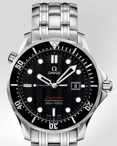 :: OMEGA Watches: Seamaster Diver 300 M Quartz 28 mm - Steel on steel - - I would prefer a less flouncy band, why all that ribbing? Dream Watches, Luxury Watches, Cool Watches, Rolex Watches, Watches For Men, Omega Seamaster Diver 300m, Omega Speedmaster, Omega Bond, Omega Planet Ocean
