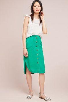c0277d76 Linen Buttondown Skirt   Anthropologie Box Pleat Skirt, Box Pleats, Pleated  Skirt, High