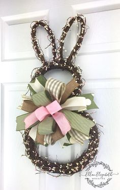 Bunny Wreath, Bunny Door Hanger, Rabbit Wreath, Grapevine Wreath, Easter Bunny Wreath, Spring Wreath, Spring Wreaths for Front Door A cute grapevine wreath in a shape of a bunny silhouette would look adorable on your door this spring. The bunny wreath is made on a grapevine