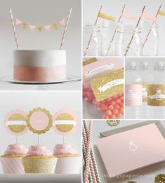 Bridal Shower Decorations  // Printable // Pink & Gold Collection on Etsy, $20.00