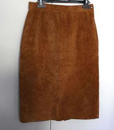 Lovely Suede Tan midi skirt size M by SunDazeVintage on Etsy, €11.99