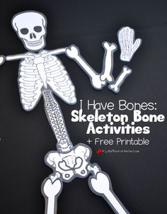 We have been having fun learning about bones using our free printable skeleton, building with playdough, making a craft, and singing. Now when the kids see skeletons this Halloween they aren't scared Human Body Science, Human Body Activities, Human Body Unit, Human Body Crafts, Body Preschool, Preschool Science, Science For Kids, Preschool Crafts, Diy Crafts