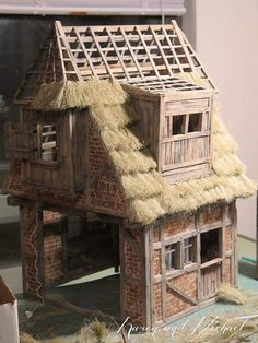 Wonderful Home Decor DIY Diorami, Wireframe Miniature Rooms, Miniature Houses, Diy Dollhouse, Dollhouse Miniatures, Medieval Houses, Fantasy House, Fairy Garden Houses, Stone Houses, Model Homes
