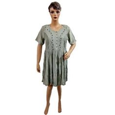 Hippie Boho Embroidered Crinckle Grey Dress Womens India Clothing Sundress (Apparel) http://www.amazon.com/dp/B007MLJQP0/?tag=httpzachlagco-20 B007MLJQP0