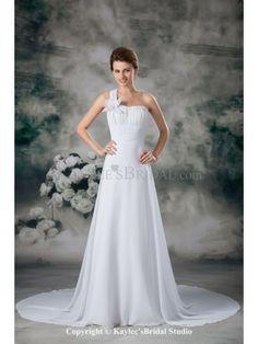 Chiffon One-Shoulder Neckline Chapel Train A-line Wedding Dress