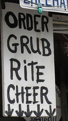 """You might need an English-Hillbilly dictionary (Translation for this sign: """"Order grub [food] right here""""). Redneck Christmas, Cowboy Christmas, Redneck Party Games, Trailer Trash Party, Hillbilly Party, White Trash Party, Dance Themes, Southern Sayings, Australia Day"""