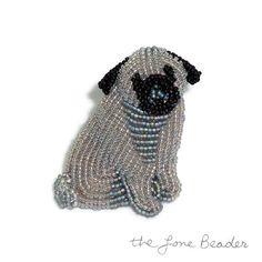 PUG TAILS  gray beaded keepsake dog pin/ pendant  от thelonebeader