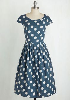 Unmatched Panache Dress in Navy Dots. There's a 'dot' to love about this printed dress by hard-to-find British brand Emily and Fin. #blue #modcloth
