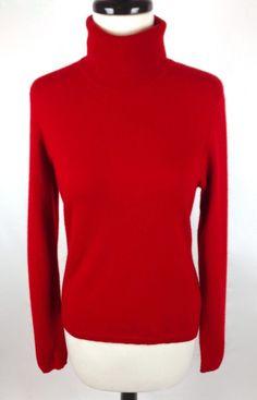 Ralph Lauren Cashmere Sweater Womens Red Long Sleeve Turtleneck S #LaurenRalph #TurtleneckMock