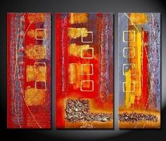 3 Pics Red Abstract Modern Art 100% Hand Painted Oil Painting on Canvas Wall Art Deco Home Decoration (Unstretch No Frame) by galleryworldwide, http://www.amazon.com/dp/B0094XPKG8/ref=cm_sw_r_pi_dp_gHdUrb1F7ZD9T