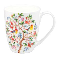 Enjoy a cozy cup of tea with this sweet mug that boasts fine bone china and a delicate floral pattern for lovely afternoon sipping. Coffee Cups, Tea Cups, Mug Tree, Kinds Of Birds, China Mugs, Australian Artists, Mug Designs, Tree Of Life, Fine China