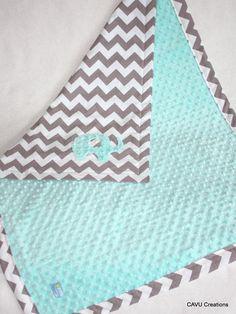 Gray Chevron & Tiffany Blue Minky Baby Blanket by CAVUcreations