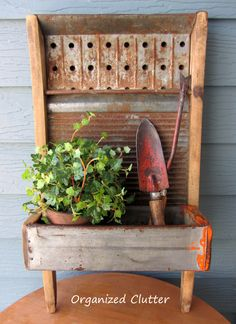 Repurposed Washboard Planter www.organizedclutterqueen.blogspot.com