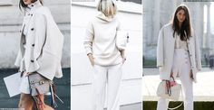 For an elegant take on cold weather dressing, all white everything is the feminine way to rock monochrome in winter, with fashionistas turning to the pale colour palette for unexpected, bold outfits.