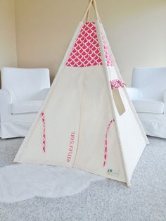Add Personalized Name For Your Tent by AshleyGabby on Etsy & Chalk Flowers Printed Canvas Fabric Play Tent by AshleyGabby ...