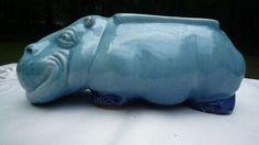 Vintage Mid Century Modern Pottery 'Hippopotamus' Planter Aqua Azure Blue   eBay