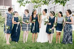 Mismatched Nautical Navy and White Bridesmaids Dresses | Emily Wren Photography | TheKnot.com