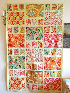 made with Amy Butler fabrics and honey dew kona Pattern is Boho Girl from McCall's Quilting Magazine Boho Girl quilt top This would be lovely to showcase big prints or cute fabrics Boho Girl quilt - do in black, white w red sashing? Like the border idea a Big Block Quilts, Lap Quilts, Scrappy Quilts, Quilt Blocks, Quilt Kits, Mini Quilts, Quilting Projects, Quilting Designs, Mccall's Quilting