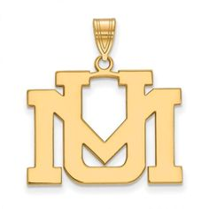 Sterling Silver w/GP LogoArt University of Montana Large Pendant