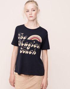Pull&Bear - woman - t-shirts and tops - short sleeved retro print t-shirt - dark navy - 09242347-I2015