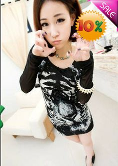 Wholesale Simple & Fashionable Yarn Spliced Tiger Printing Slim Full Coverage Dress----Black top dresses