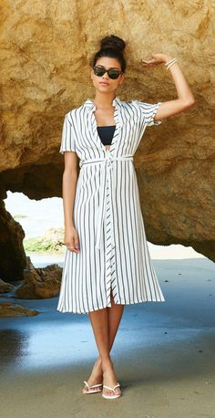This nautical shirt-dress is so versatile. Could wear this over a bathing suit on the seaside or to run errands on the weekend.