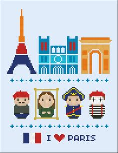 This is a super funny pattern for all the Paris lovers, featuring the icon places and characters: the Eiffel Tower, Notre Dame and the Arch of Triumph and an artist, Leonardo's Gioconda, Napoleon and a mime.