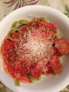 Creamy tomato spinach fettuccine