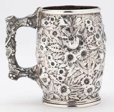 "S. Kirk & Son ""Repousse"" Sterling Silver Mug  circa 1861-1868"