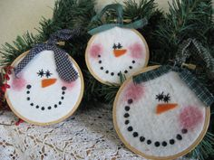 Primitive Happy Snowman Set of 3 Embroidery Hoop Ornies - Winter Ornaments - Christmas and Holiday Ornies or Wall Deco