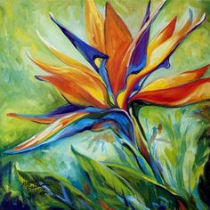 """BLESSED DAY Bird of Paradise"" by Marcia Baldwin: A floral abstract original oil painting of the Bird of Paradise blossom by Marcia Baldwin Abstract Canvas, Oil Painting On Canvas, Painting Prints, Canvas Wall Art, Wall Art Prints, Oil Paintings, Bird Canvas, Canvas Prints, Framed Prints"