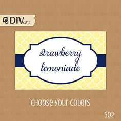 "PRINTABLE 3.5x2.25"" Place Cards, Escort Cards, Food Labels, Gift Tags - quatrefoil - yellow and navy or any color  by DIVart"