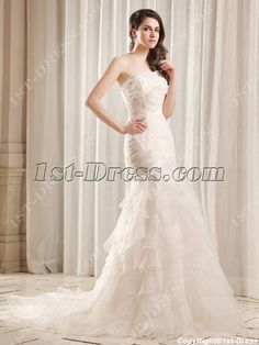 1st-dress.com Offers High Quality Flatter Strapless Long Trumpet Bridal Gown with Train,Priced At Only US$239.00 (Free Shipping)