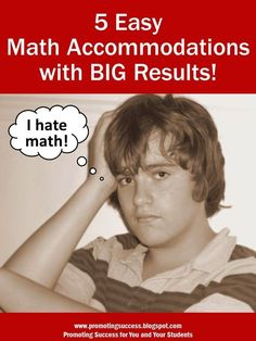 Fair isn't always equal. Here are five math accommodations for your students! Visit this blog for LOTS more FREE teaching resources including math, reading, holidays, special education and more! ~ Promoting Success for You and Your Students! ~