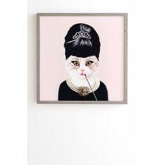 "East Urban Home Hepburn Cat by Coco De Paris Framed Graphic Art Size: 12"" H x 12"" W x 1"" D, Frame Color: White"