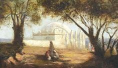 Algérie - Peintre Espagnol, Joseph SINTES(1829-1913),huile sur toile , Titre :Visite d'un Mausolée à Alger