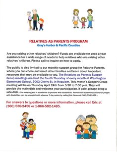 Relatives as Parents Program Information in Gray's Harbor & Pacific Counties, WA