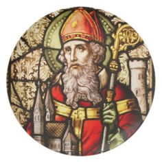 Saint Patrick Vintage Stained Glass Image Dinner Plates