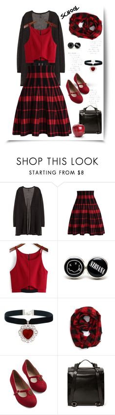 """School'"" by dianefantasy ❤ liked on Polyvore featuring H&M, Chicwish, Arco, Steve Madden, Kelsi Dagger Brooklyn, BackToSchool, backpack, cardigan and skaterskirt"