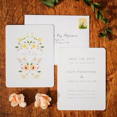 Boho Chic Floral Wedding Invitation Set as by ChelsiLeeDesigns